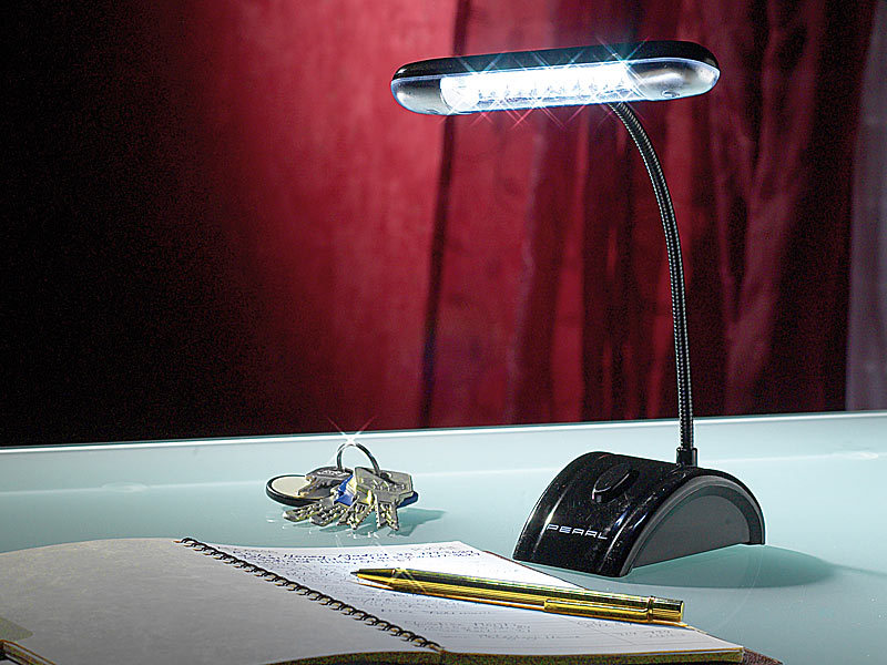 pearl flexible tischlampe mit 12 leds batteriebetrieben. Black Bedroom Furniture Sets. Home Design Ideas