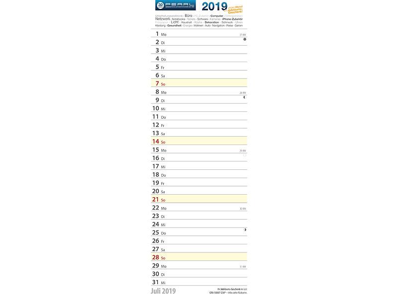 pearl gratis wand monats kalender 2019 mit 12 blatt