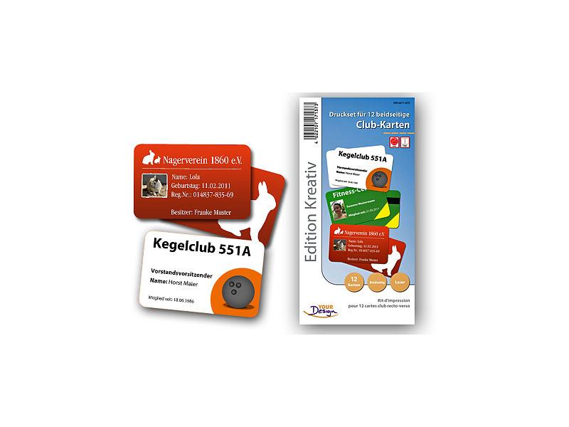 Your Design Druckset für 12 beidseitige Club-Karten, Laserdrucker