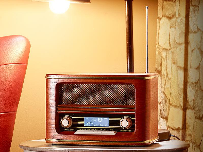 auvisio digitalradio nostalgie digitales nostalgie stereo radio mit dab bluetooth 3 0 fm. Black Bedroom Furniture Sets. Home Design Ideas