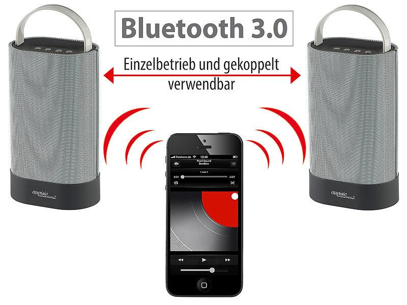 auvisio stereo boxen stereo lautsprecher duo mss mit bluetooth 30 watt kabellose. Black Bedroom Furniture Sets. Home Design Ideas