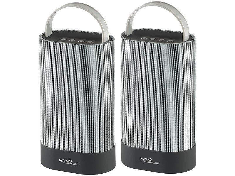 auvisio tragbare boxen stereo lautsprecher duo mss mit bluetooth 30 watt kabellose. Black Bedroom Furniture Sets. Home Design Ideas