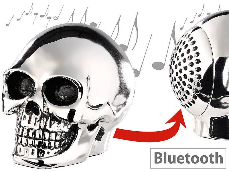 Auvisio Totenkopf Boxen Lautsprecher Mit Bluetooth 4 0 Im Schweren