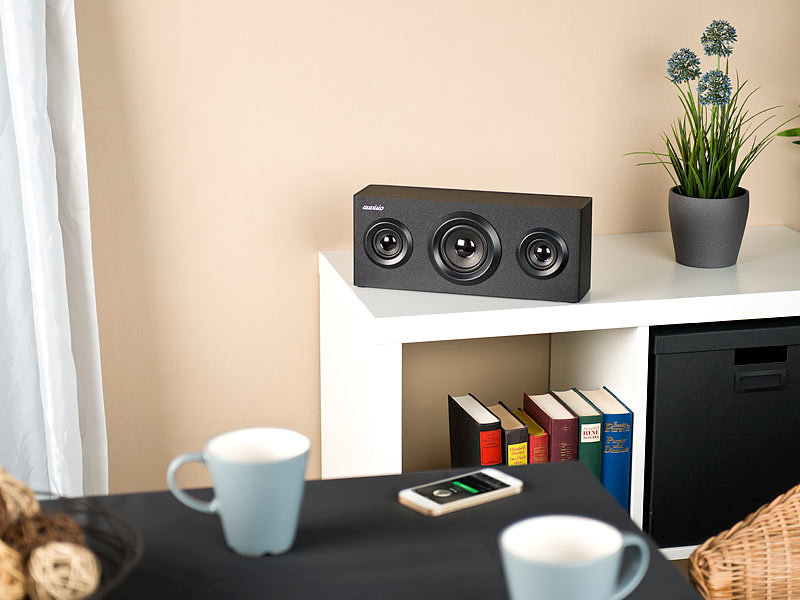 auvisio 2 1 regal holzlautsprecher mit bluetooth subwoofer akku 12 watt. Black Bedroom Furniture Sets. Home Design Ideas