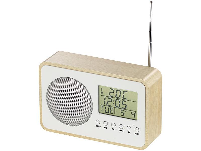 auvisio ukw radiowecker design fm radiowecker mit digitaler frequenzwahl netzteil beige. Black Bedroom Furniture Sets. Home Design Ideas