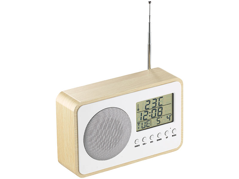 auvisio design fm radiowecker mit digitaler frequenzwahl netzteil beige. Black Bedroom Furniture Sets. Home Design Ideas
