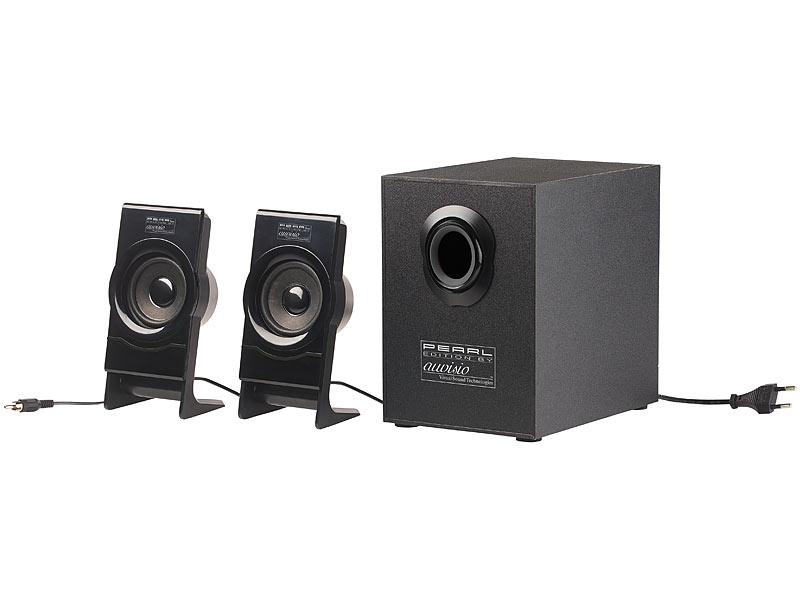 auvisio klangstarkes lautsprecher system mit bluetooth 2 1 subwoofer 30 watt. Black Bedroom Furniture Sets. Home Design Ideas