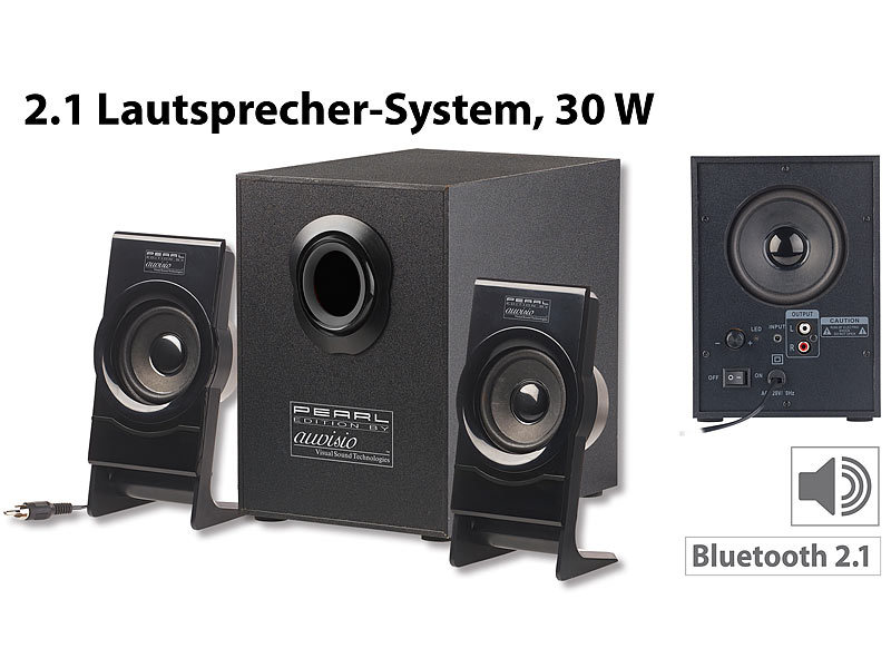 auvisio aktiv box klangstarkes lautsprecher system mit bluetooth 2 1 subwoofer 30 watt. Black Bedroom Furniture Sets. Home Design Ideas