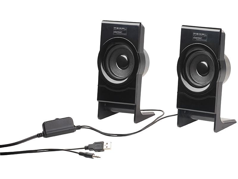auvisio boxen f r pc stereo lautsprecher msx 100 mit usb. Black Bedroom Furniture Sets. Home Design Ideas