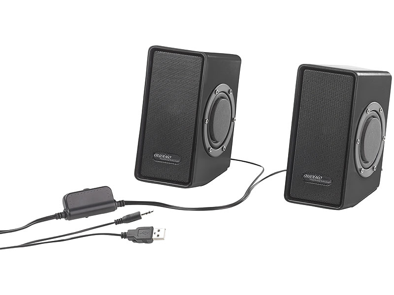 auvisio stereo lautsprecher mit passivem subwoofer usb. Black Bedroom Furniture Sets. Home Design Ideas