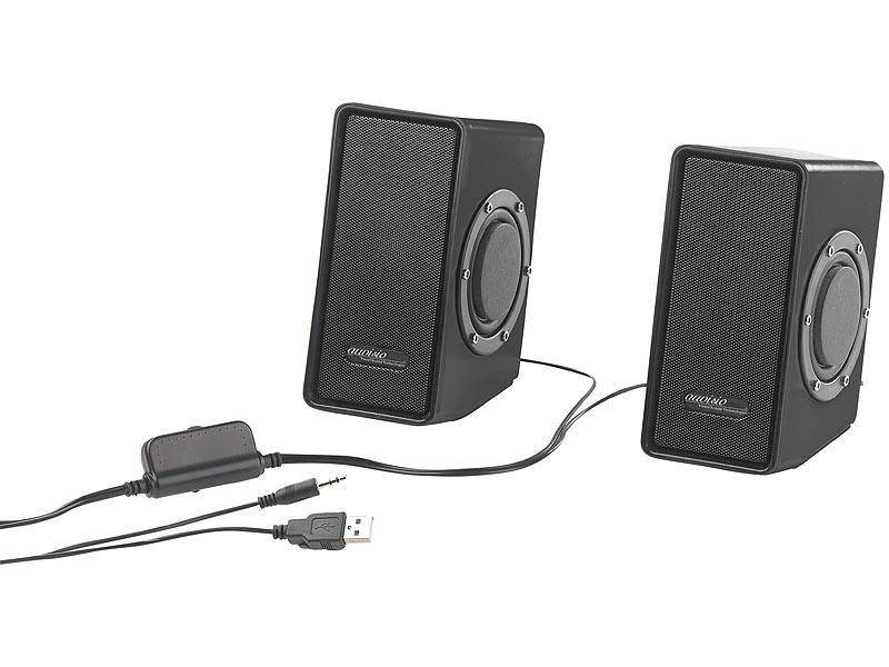 auvisio computerboxen stereo lautsprecher mit passivem. Black Bedroom Furniture Sets. Home Design Ideas