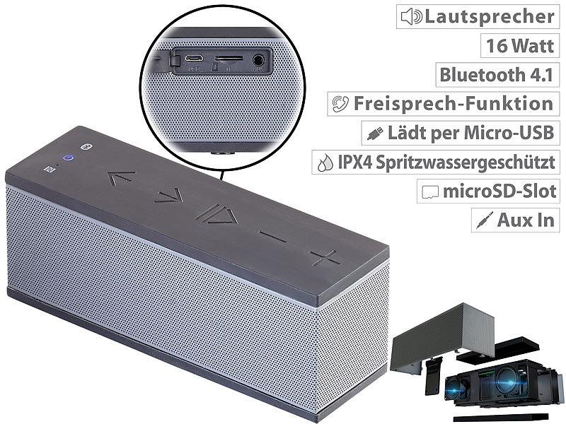auvisio bluetooth box stereo lautsprecher mit freisprecher bluetooth microsd 16w ipx4. Black Bedroom Furniture Sets. Home Design Ideas