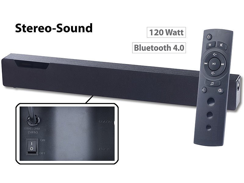 auvisio soundbox stereo soundbar mit bluetooth 4 0 2. Black Bedroom Furniture Sets. Home Design Ideas