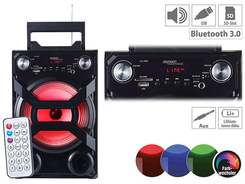 Auvisio Mobile Akku Partyanlage Bluetooth Karaoke