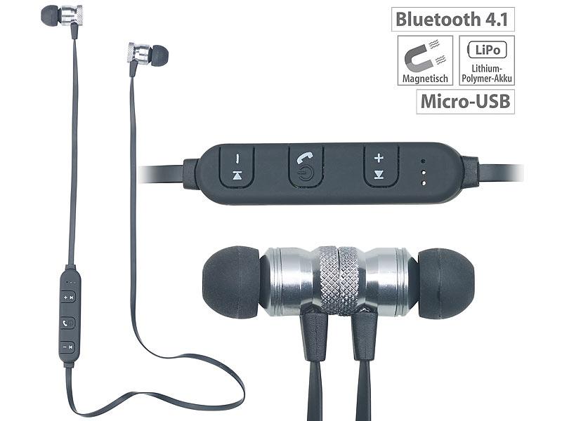 auvisio in ear stereo headset sh 30 mit bluetooth 4 1 und magnetverschluss. Black Bedroom Furniture Sets. Home Design Ideas