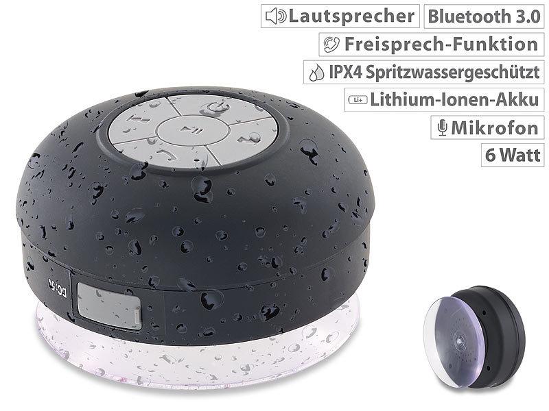 Auvisio Lautsprecher Mit Bluetooth, Freisprechfunktion Und Saugnapf, IPX4