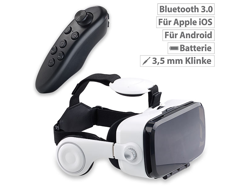 Virtual-Reality-Brille mit Headset & Bluetooth-Game-Controller im Set