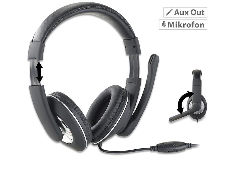 auvisio gaming headset f r pc mit klapp mikrofon 2x 3 5. Black Bedroom Furniture Sets. Home Design Ideas