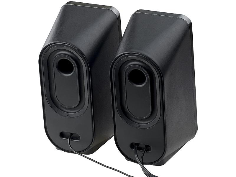 auvisio pc lautsprecher stereo lautsprecher mit usb stromversorgung 24 watt 3 5 mm klinke. Black Bedroom Furniture Sets. Home Design Ideas