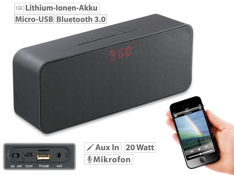 auvisio bluetooth stereo lautsprecher mit freisprecher mp3 fm radio 20 watt. Black Bedroom Furniture Sets. Home Design Ideas