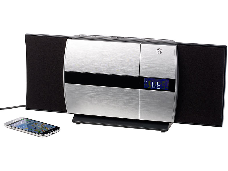 auvisio cd player vertikale stereoanlage mit bluetooth cd mp3 radio aux nfc 20 w hifi. Black Bedroom Furniture Sets. Home Design Ideas