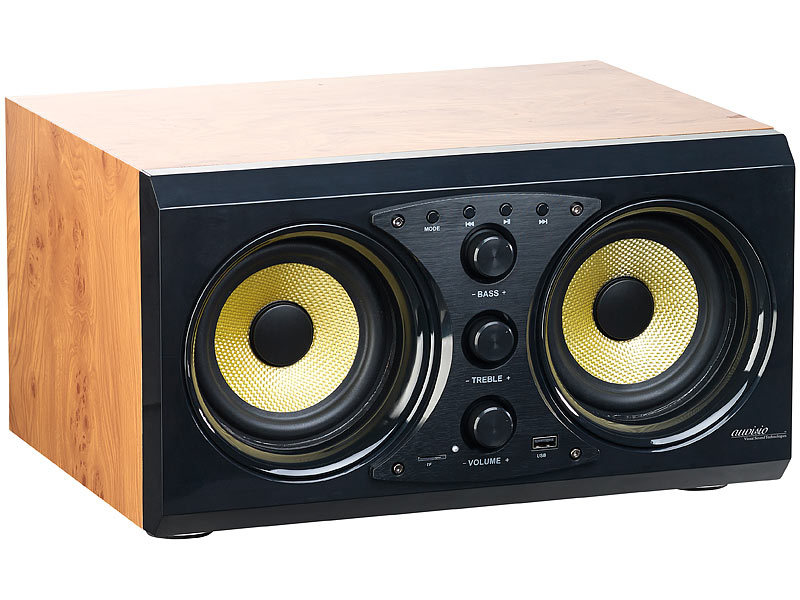 auvisio stereo lautsprecher 2 0 soundsystem im holzgeh use bluetooth 3 0 musik player 60. Black Bedroom Furniture Sets. Home Design Ideas