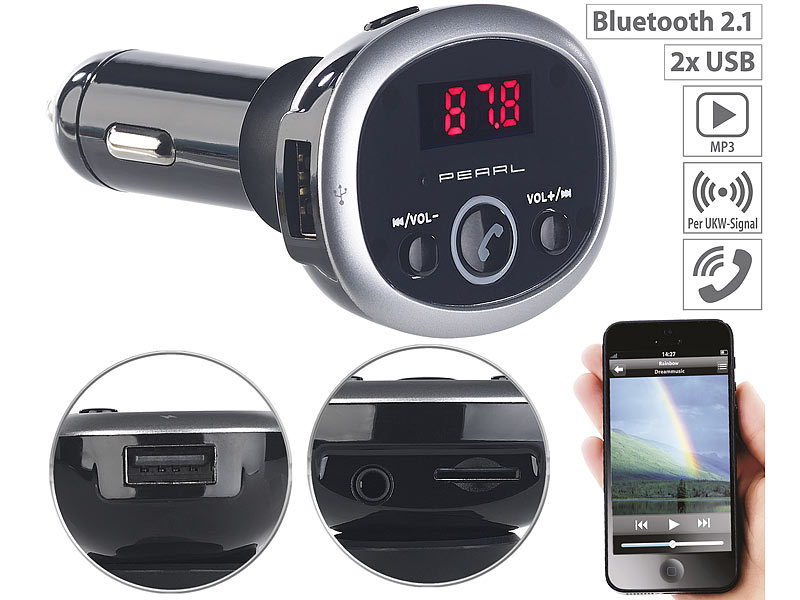 auvisio kfz transmitter mp3 fm transmitter mit bluetooth. Black Bedroom Furniture Sets. Home Design Ideas