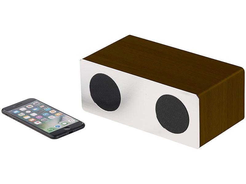 auvisio pc lautsprecher bt stereo lautsprecher bluetooth holzgeh use alu front 20 w 400. Black Bedroom Furniture Sets. Home Design Ideas