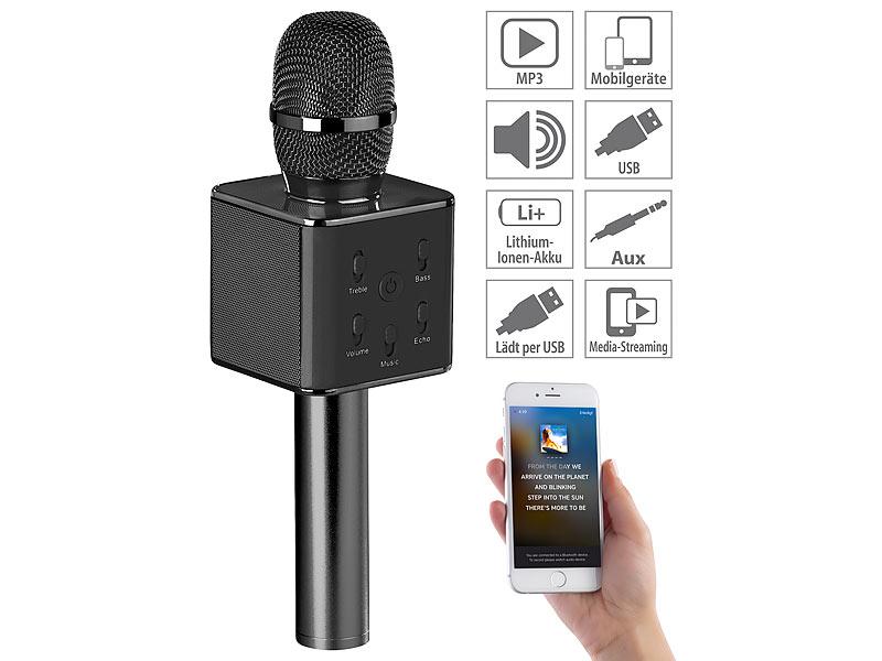 auvisio karaoke mikro karaoke mikrofon mit bluetooth mp3. Black Bedroom Furniture Sets. Home Design Ideas