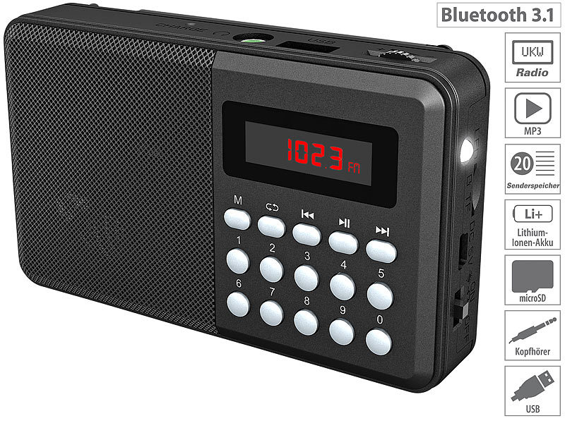 auvisio mini radio bluetooth fm taschenradio bluetooth. Black Bedroom Furniture Sets. Home Design Ideas