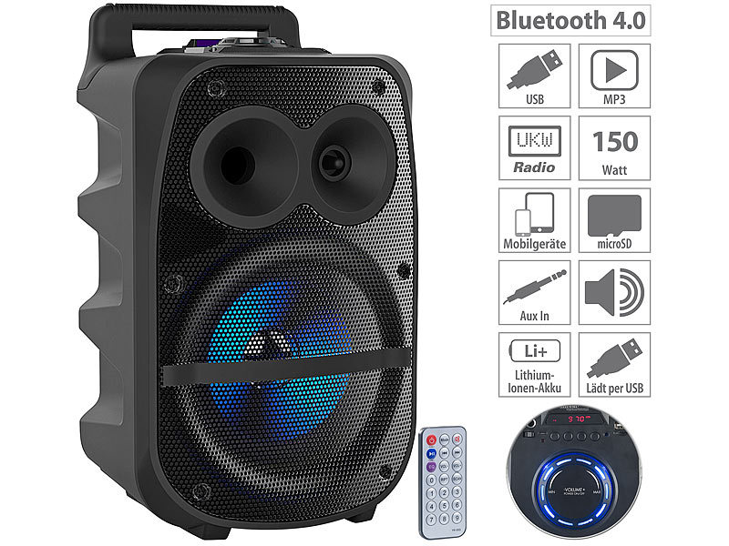 Mobile PA-Partyanlage, Bluetooth, MP3, USB, SD, Karaoke, UKW, 150 Watt