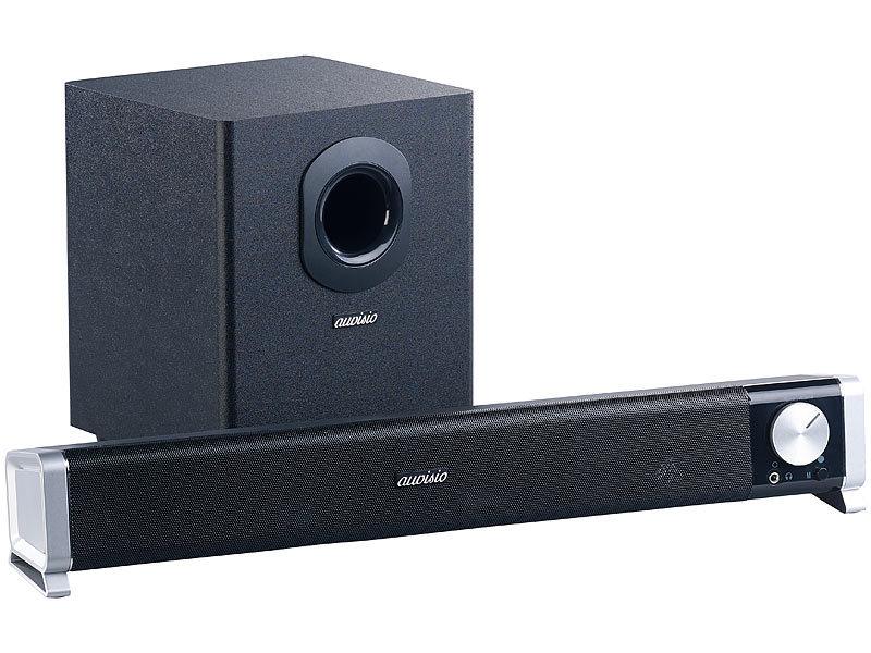 auvisio tv lautsprecher 2 1 soundbar mit externem. Black Bedroom Furniture Sets. Home Design Ideas