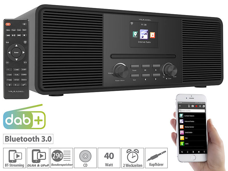 Stereo-Internetradio mit CD-Player, DAB+/FM & Bluetooth, 40 W, schwarz