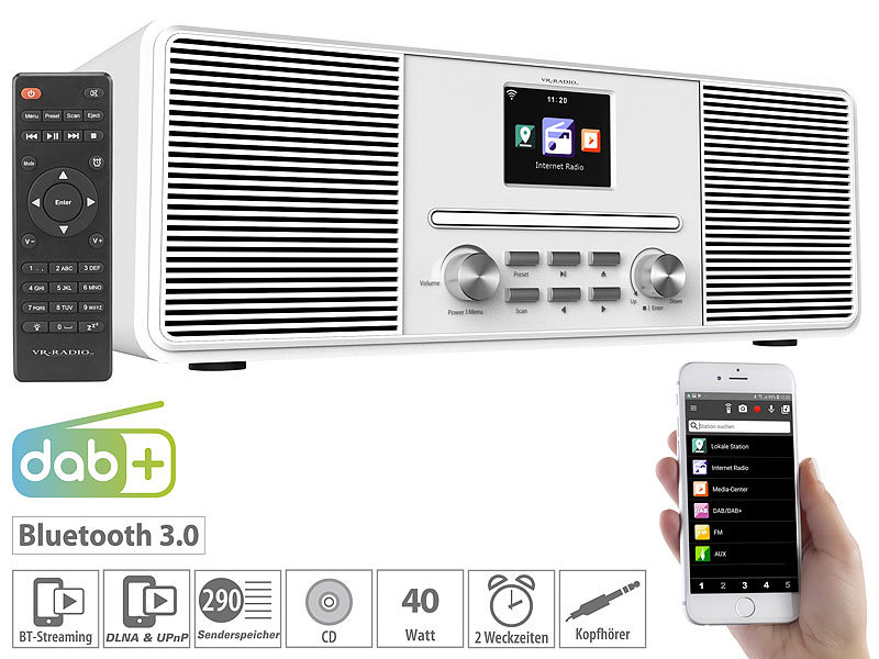 Stereo-Internetradio mit CD-Player, DAB+/FM & Bluetooth, 40 Watt, weiß