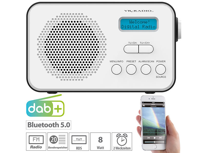 Mobiles Akku-Digitalradio mit DAB+ & FM, Wecker, Bluetooth 5, 8 Watt