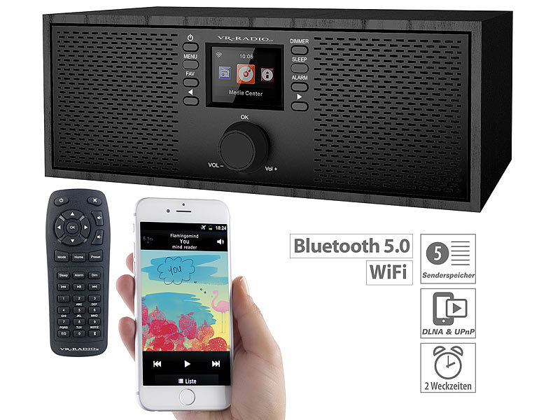 Stereo-WLAN-Internetradio, Farb-Display, 12 W, Bluetooth 5, Fernbed.