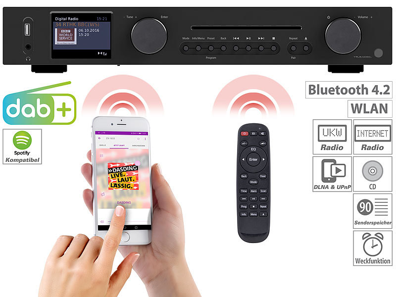 WLAN-HiFi-Tuner mit Internetradio, CD, DAB+, UKW & Bluetooth, MP3/WMA