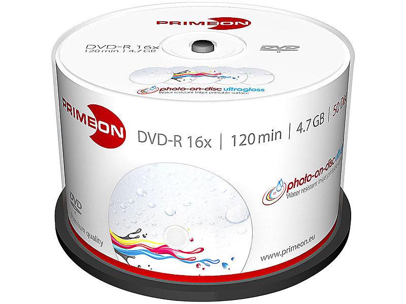 primeon dvd r 4 7 gb 16x bedruckbar hochgl nzend 50er box. Black Bedroom Furniture Sets. Home Design Ideas