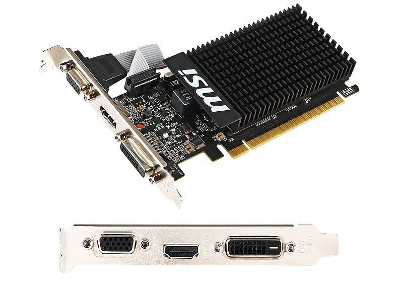 Grafikkarte Geforce GT710, HDMI/DVI/VGA, 1 GB DDR3, passiv gekühlt