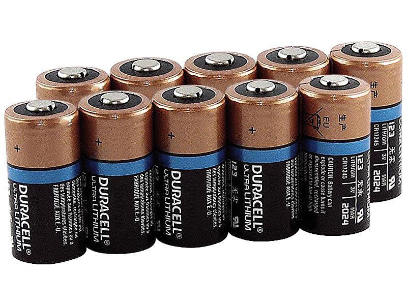 Duracell Batterien CR123A: Lithium Batterie Typ CR123, 1.400
