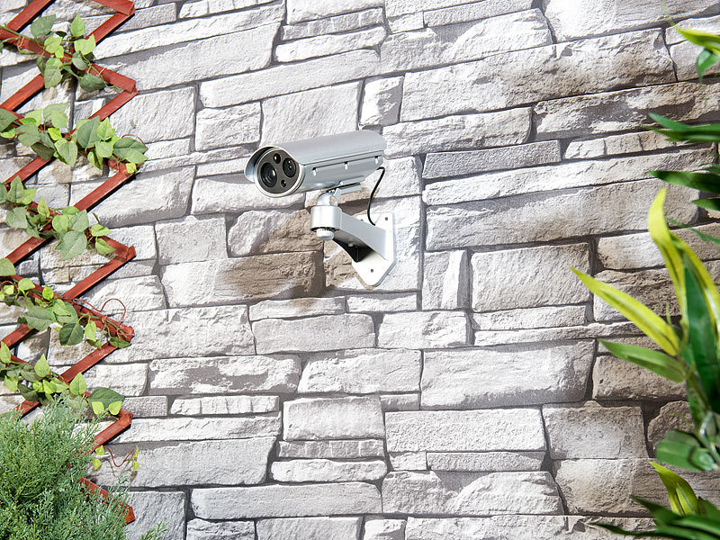 visortech kamera attrappen berwachungskamera attrappe bewegungsmelder alarm funktion 85 db. Black Bedroom Furniture Sets. Home Design Ideas