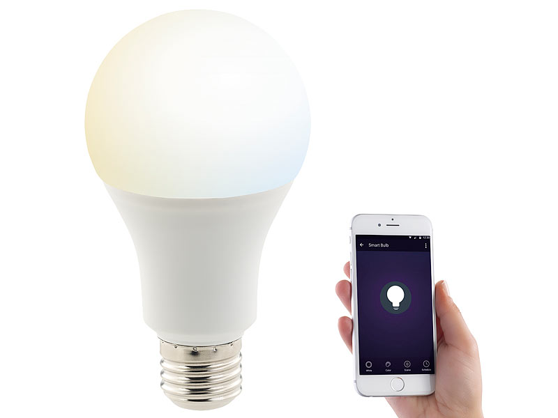 luminea home control smart bulb wlan led lampe komp zu amazon alexa google assistant e27. Black Bedroom Furniture Sets. Home Design Ideas