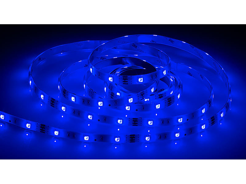 luminea rgb led streifen lac 515 5 meter 150 leds dimmbar ip44. Black Bedroom Furniture Sets. Home Design Ideas