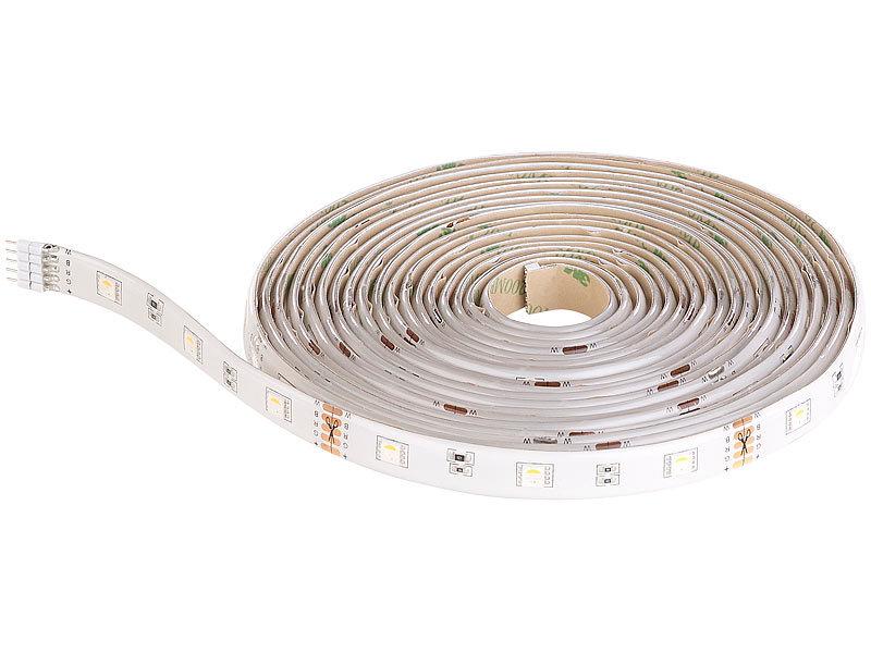 luminea flexibler led streifen led streifen lam 515 5 m lumen warmwei dimmbar ip44. Black Bedroom Furniture Sets. Home Design Ideas