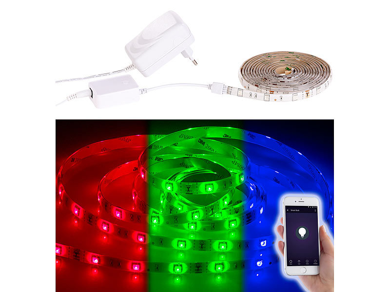 luminea wlan led streifen in rgb 2 m kompatibel zu alexa voice service. Black Bedroom Furniture Sets. Home Design Ideas