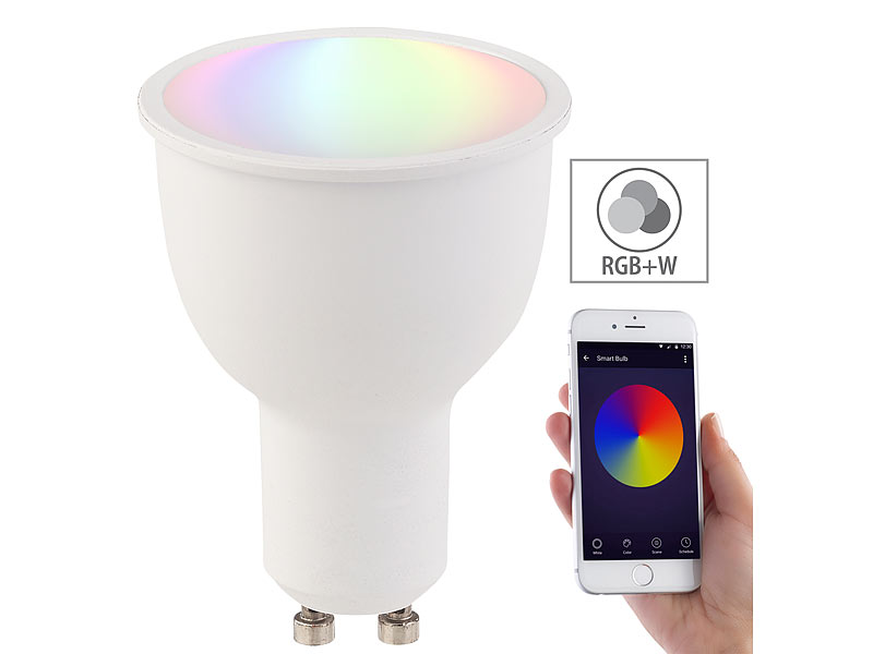 luminea home control led spot wlan led lampe komp mit amazon alexa google assistant gu10. Black Bedroom Furniture Sets. Home Design Ideas