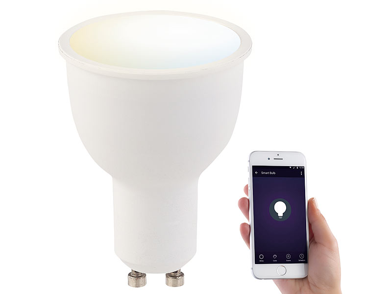 Luminea home control led gu dimmbar wlan led lampe komp zu