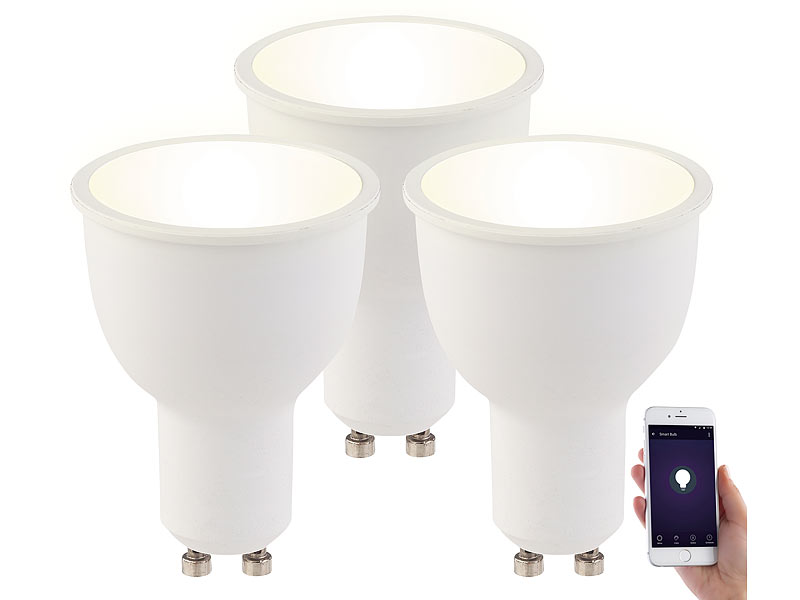 Dimmbarer LED Spot: Luminea 3er Set WLAN LED Lampen GU10, Komp