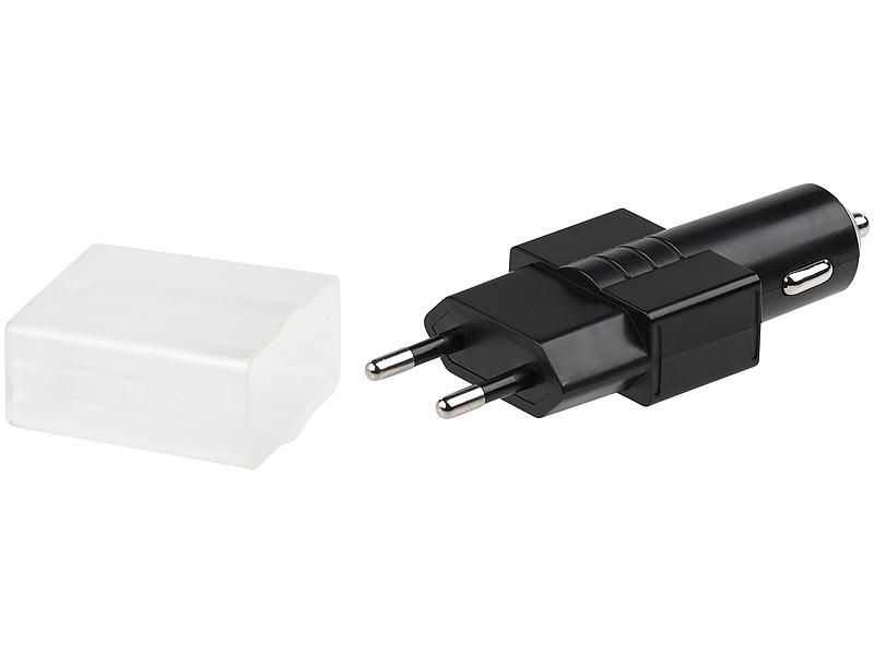 revolt kfz adapter 2in1 usb ladeger t f r 230 12 24 volt kfz anschluss 2x usb 2 1 a kfz. Black Bedroom Furniture Sets. Home Design Ideas