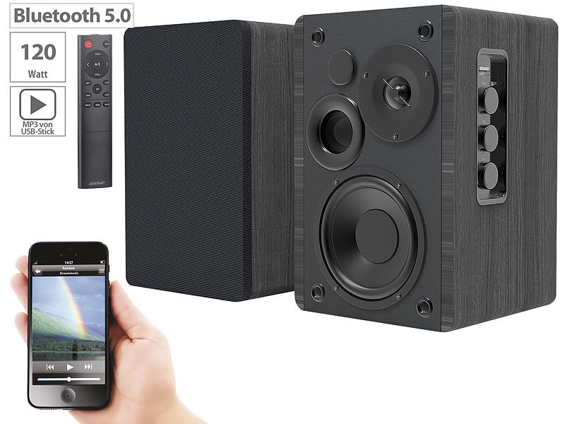 Aktives Stereo-Regallautsprecher-Set, Holz-Gehäuse, Bluetooth 5, 120 W